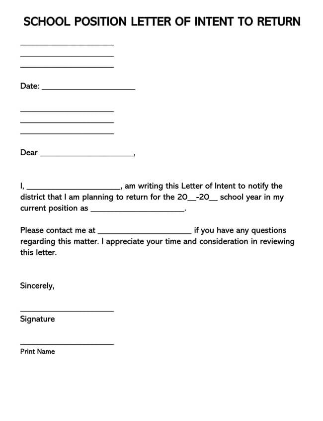 Letter of Intent for School Position