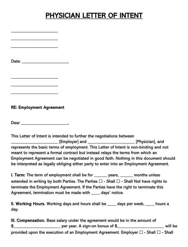 Letter of Intent for Physician