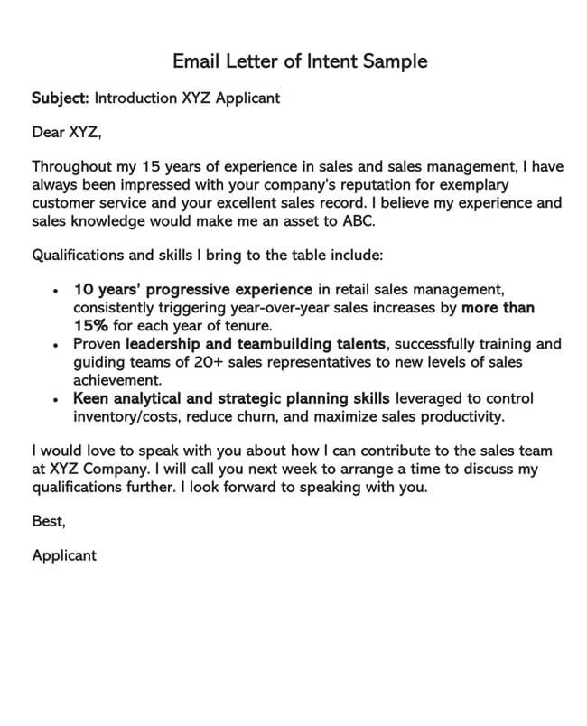 Letter of Intent Template 03