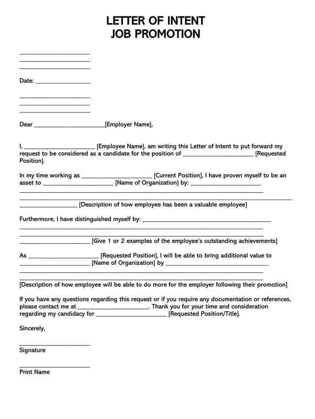 Letter of Intent for Job Promotion