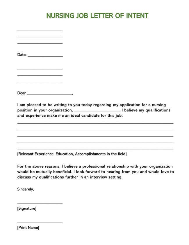 Letter of Intent for Nursing