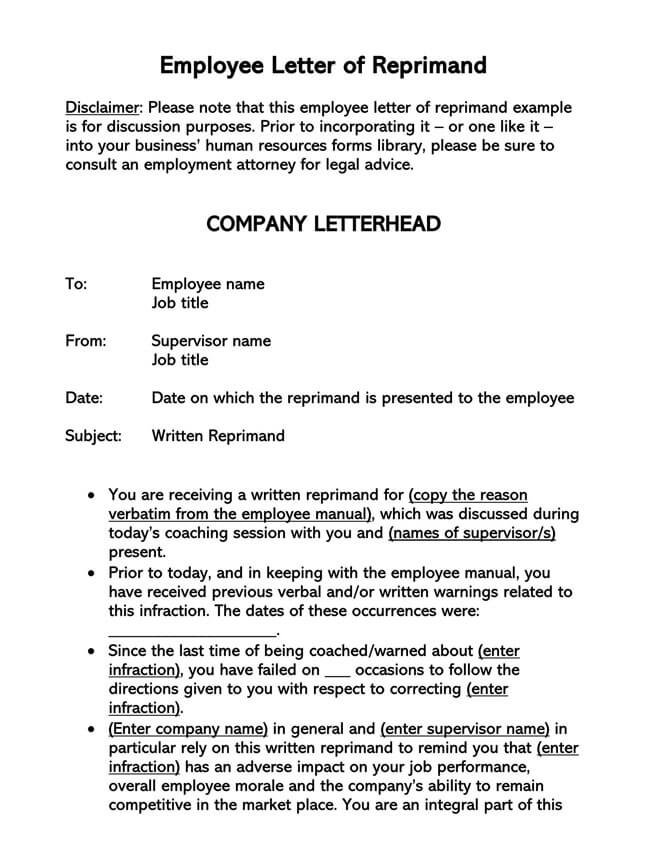 Letter of Reprimand Template 01
