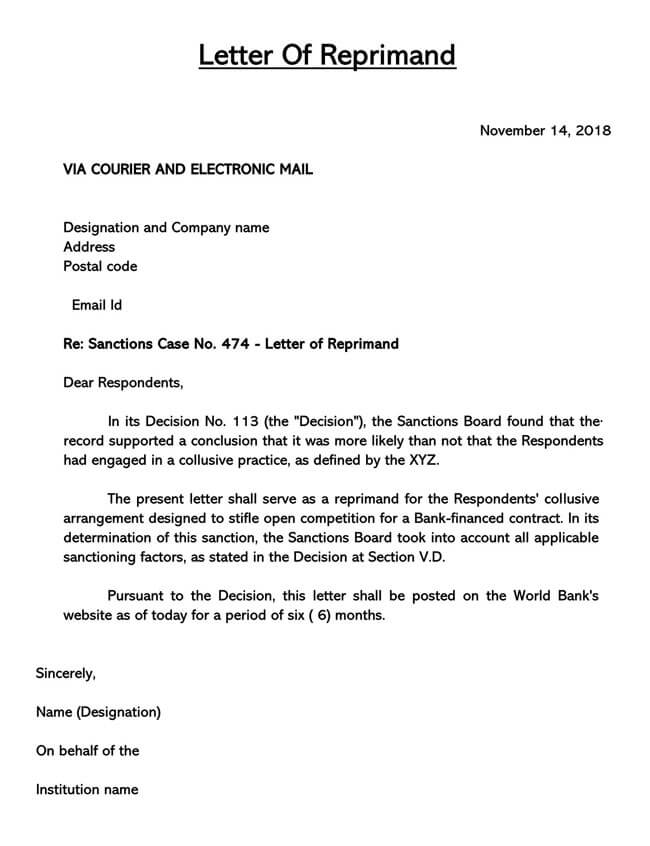 Letter of Reprimand Template 02
