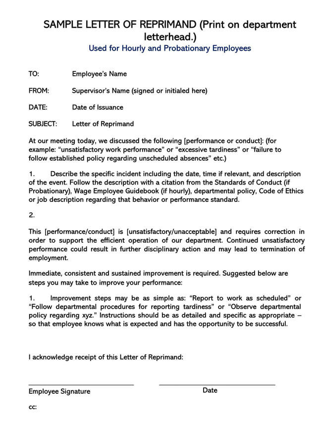Letter of Reprimand Template 03