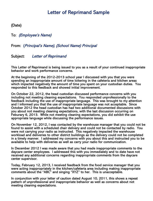 Letter of Reprimand Template 04