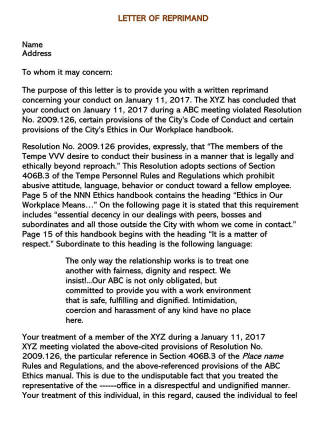 Letter of Reprimand Template 05