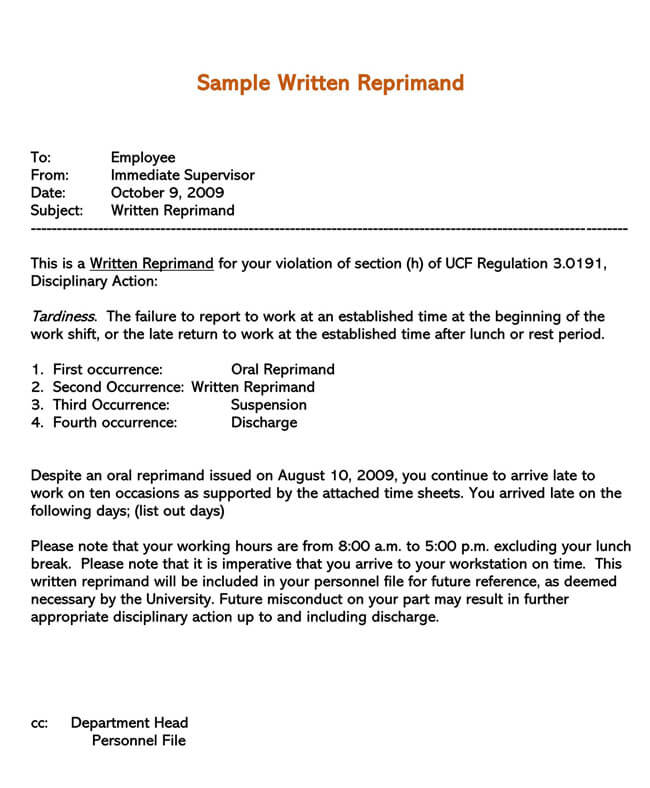 Letter of Reprimand Template 06