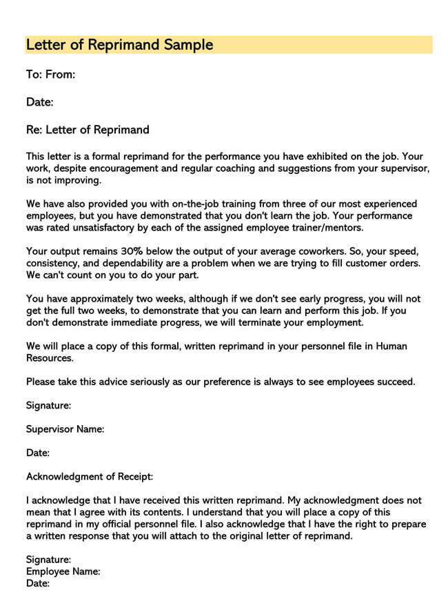 Letter of Reprimand Template 07