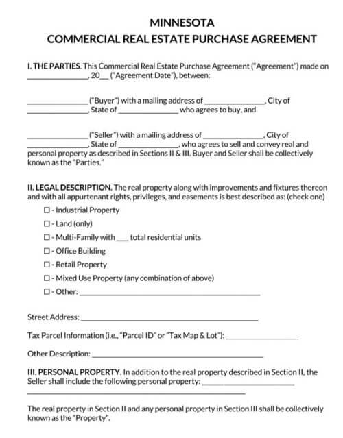Minnesota-Commercial-Real-Estate-Purchase-Agreement