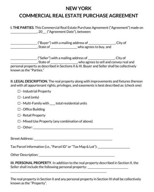 New York Commercial Real Estate Purchase Agreement