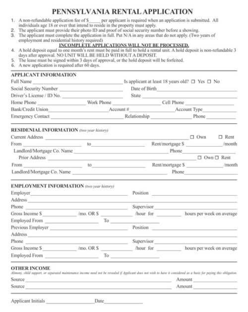 Pennsylvania-Rental-Application-Form