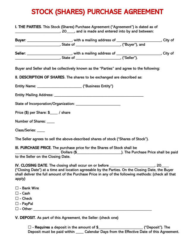 Stock Purchase Agreement Templates 03