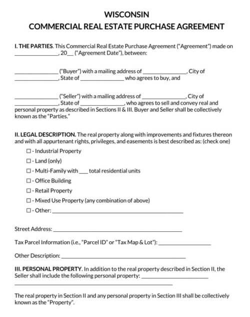 Wisconsin-Commercial-Real-Estate-Purchase-Agreement