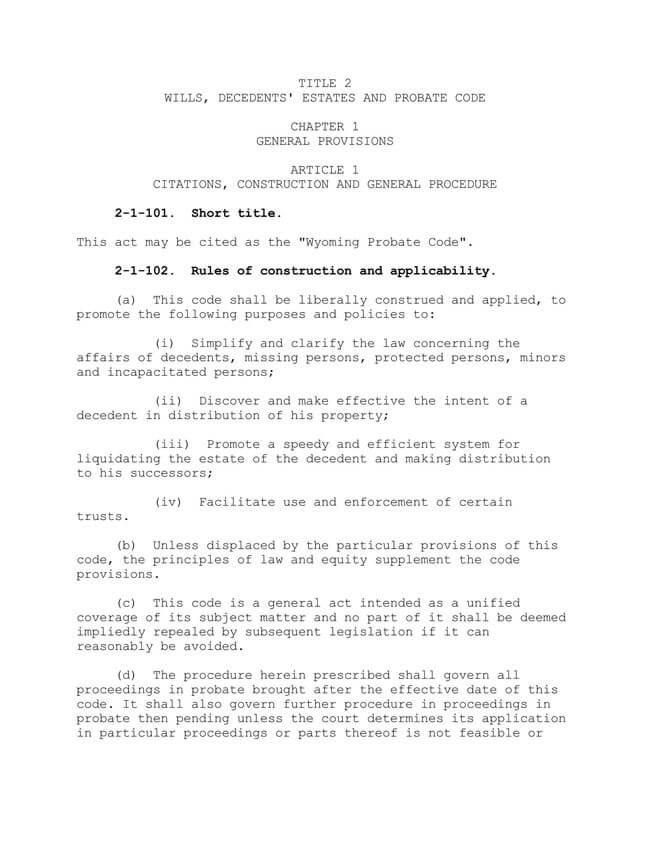 Wyoming Title 2 Wills Decedents' Estates and Probate Code