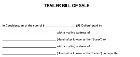 Trailer Bill of Sale Part 1
