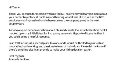 short and sweet follow-up email after interview