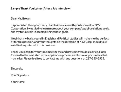short and sweet thank you letter after interview