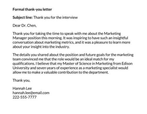 best thank you letter after interview 2020