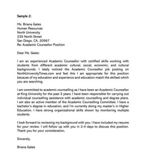 Academic Advisor Cover Letter Samples