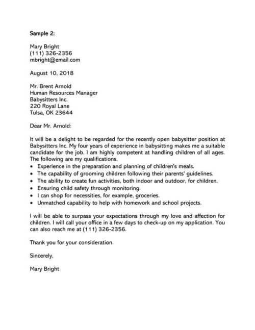 Baby Sitter Cover Letter Samples