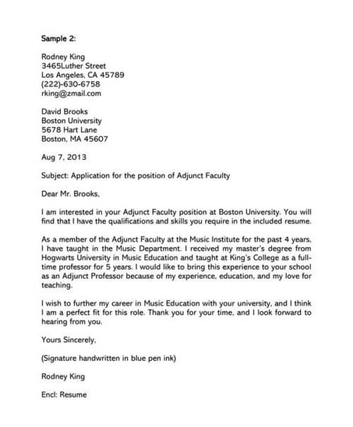 Adjunct Faculty Cover Letter Samples