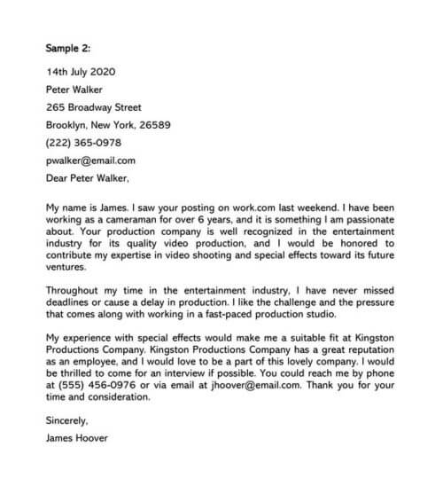 Artist Cover Letter Samples