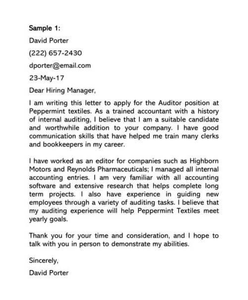 Auditor Cover Letter Samples
