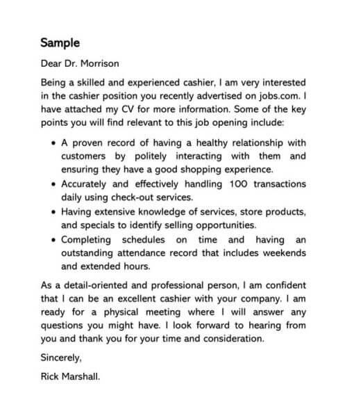 Cashier Cover Letter Sample