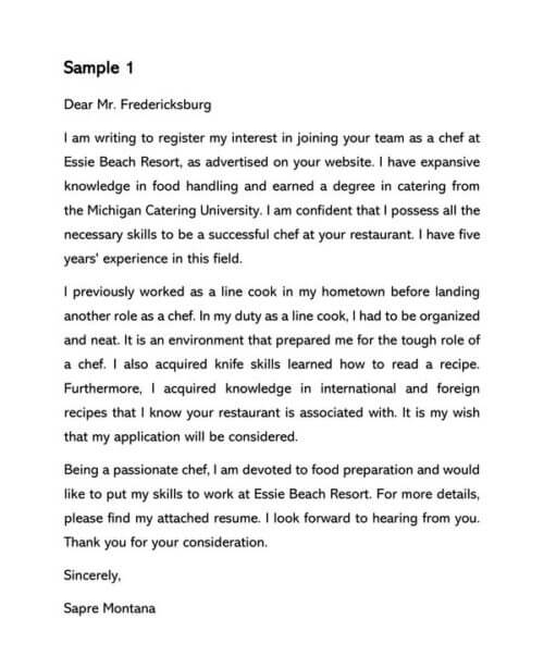 Chef Cover Letter Samples