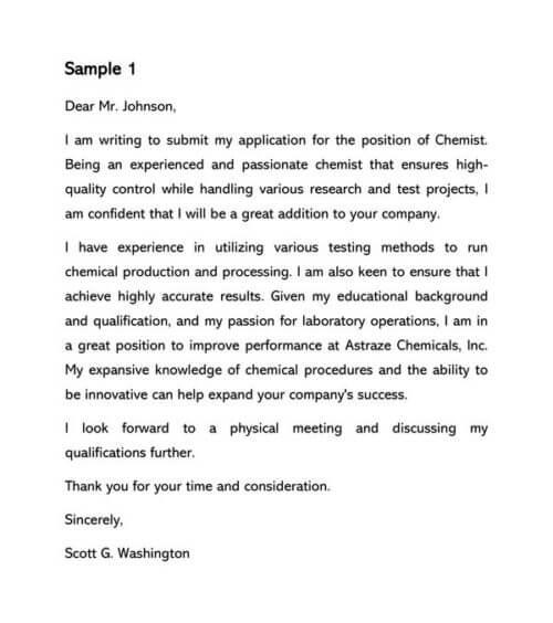 Chemist Cover Letter Samples