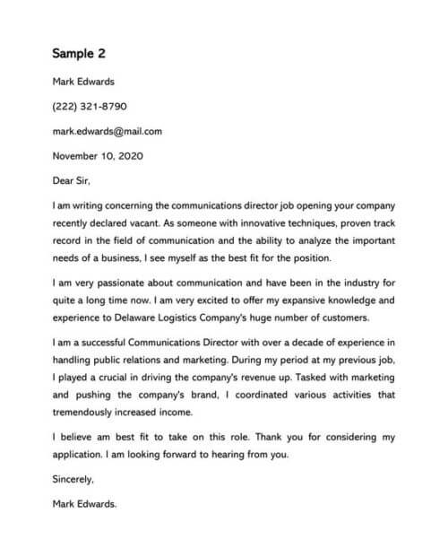 Communications Director Cover Letter Samples