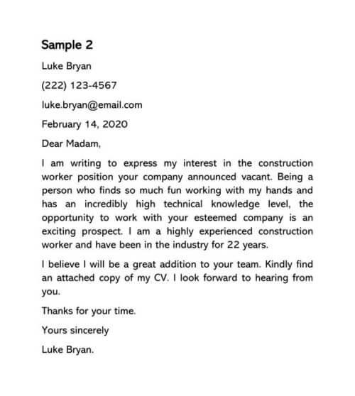 Construction Worker Cover Letter Samples
