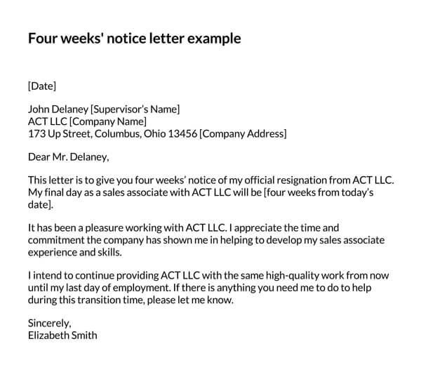 Four-Weeks-Notice