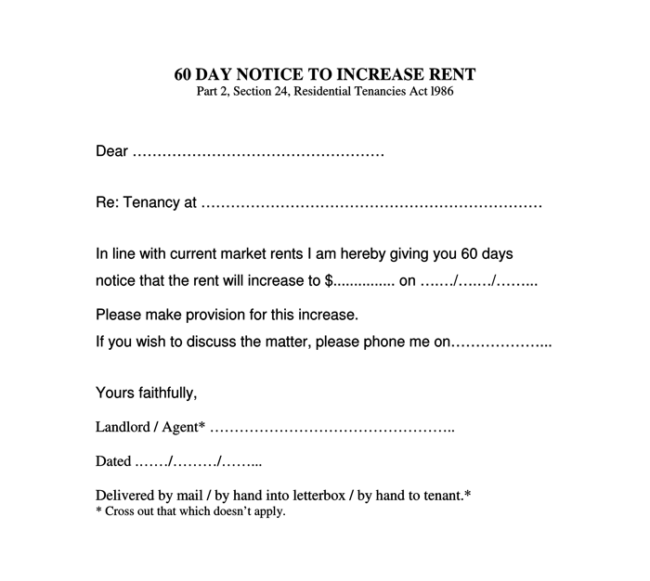 increase rent letter to tenant
