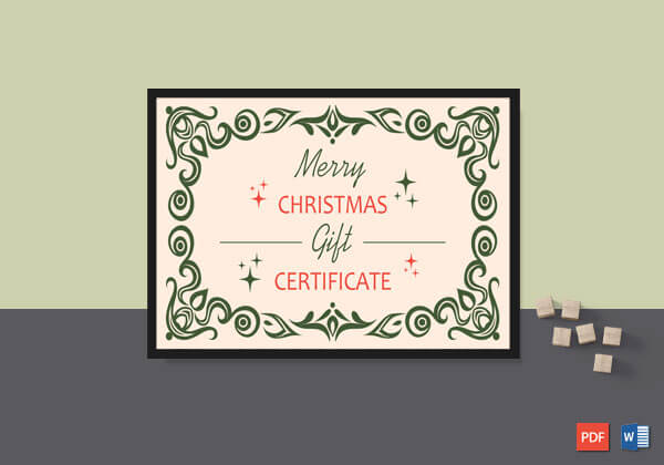 Christmas Gift Certificate Template – Word, PDF