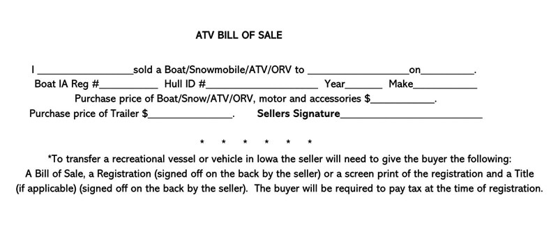ATV Bill of Sale Form 03