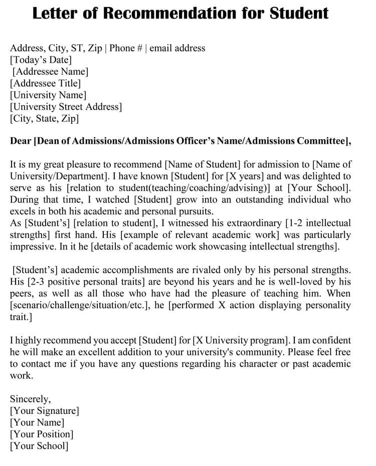 graduate program recommendation letter