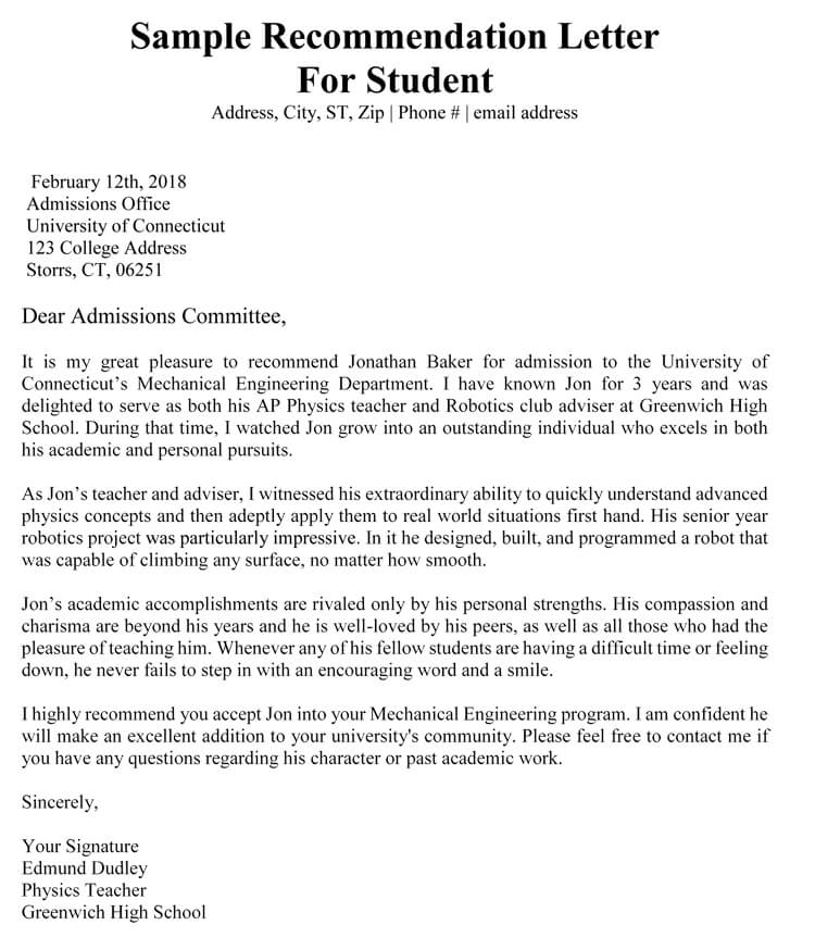 Academic Recommendation Letter 20 Sample Letters Templates