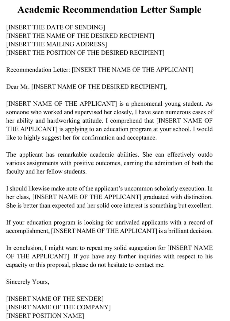 academic recommendation letter  20  sample letters