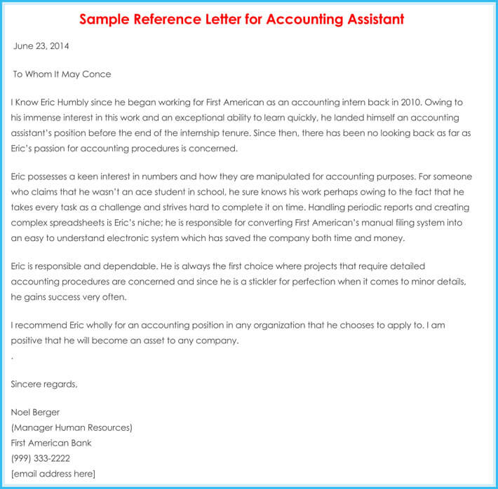 Accountant Reference  Recommendation Letters   SamplesFormats