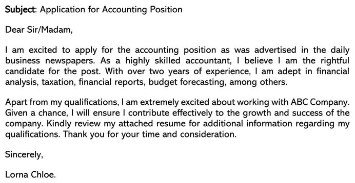 Accounting cover letter email example