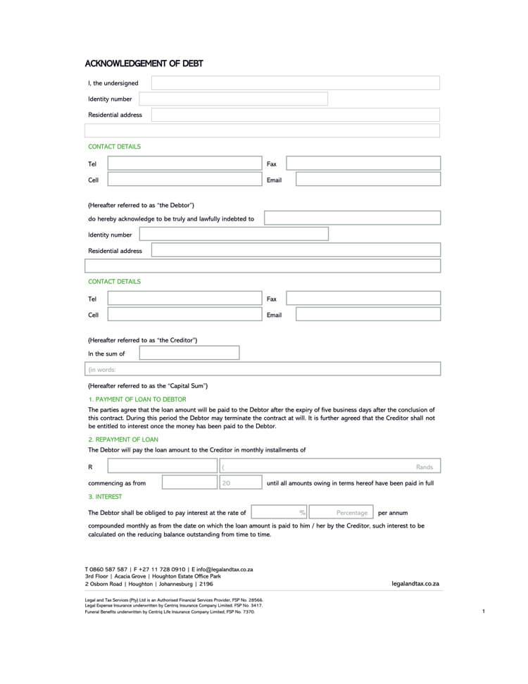 Acknowledgment of Debt Form 02