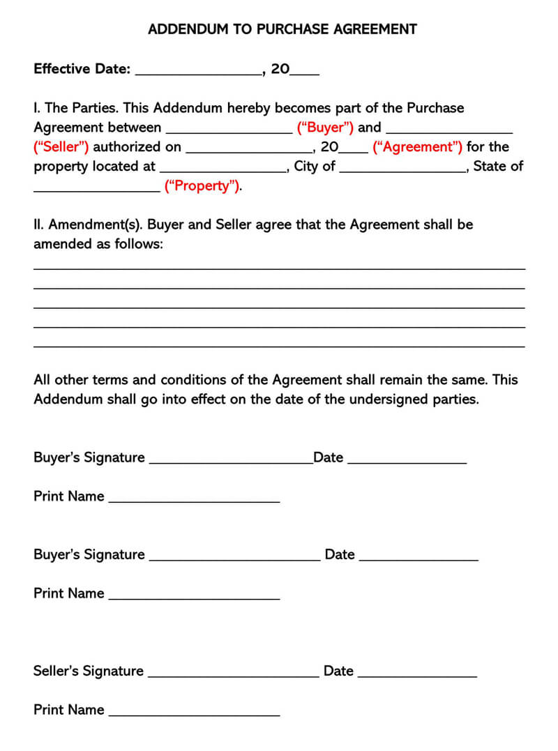 Addendum to Purchase Agreement Between Buyer and Seller