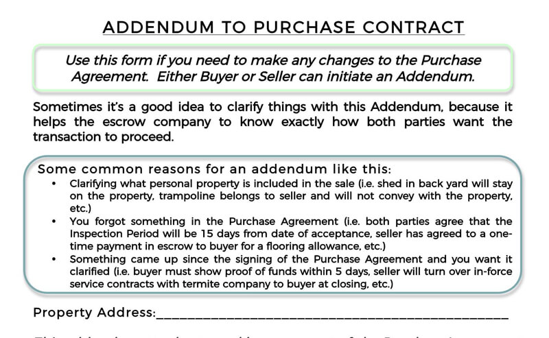 Addendum to Purchase Contract PDF Agreement