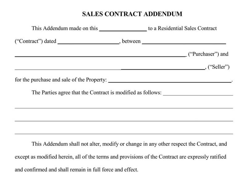 Addendum to Sales Contract Agreement Form