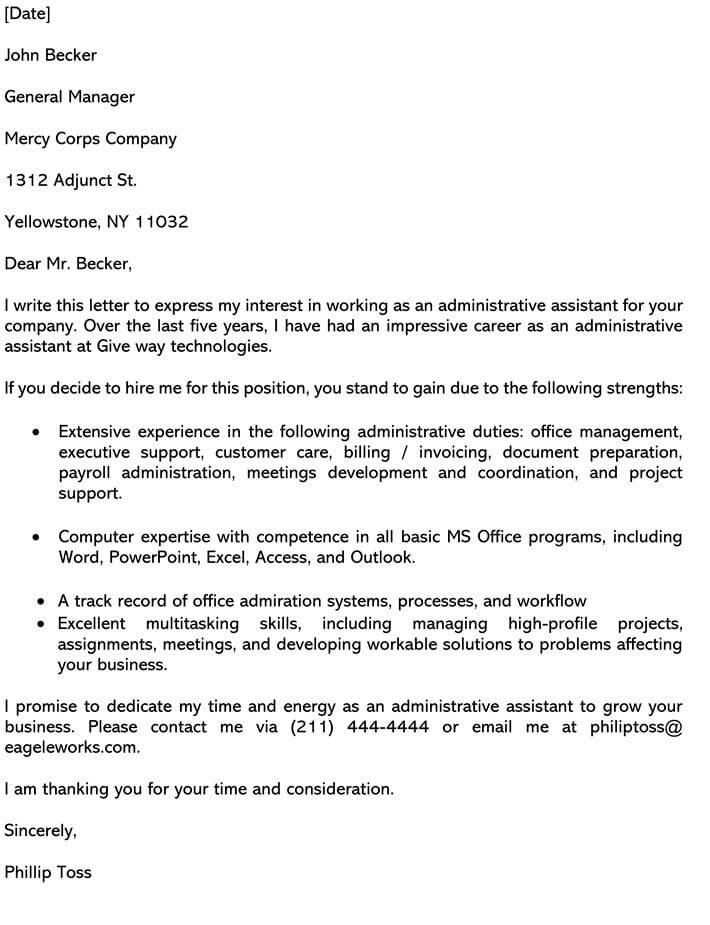 Cover Letter Example For Administrative Assistant Position from www.wordtemplatesonline.net