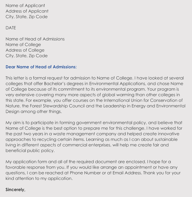 How to write a graduate school admissions letter