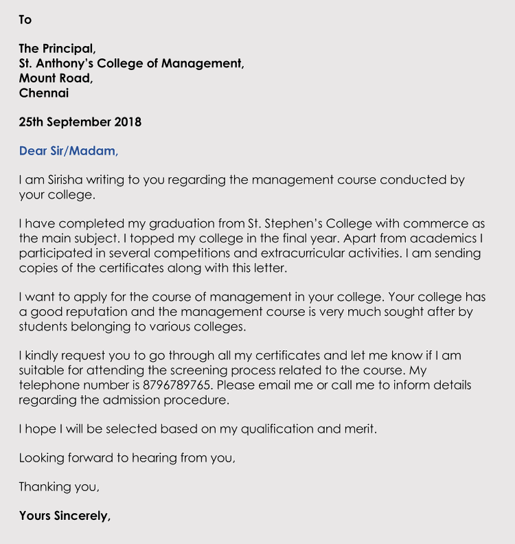 Cover letter university admissions office