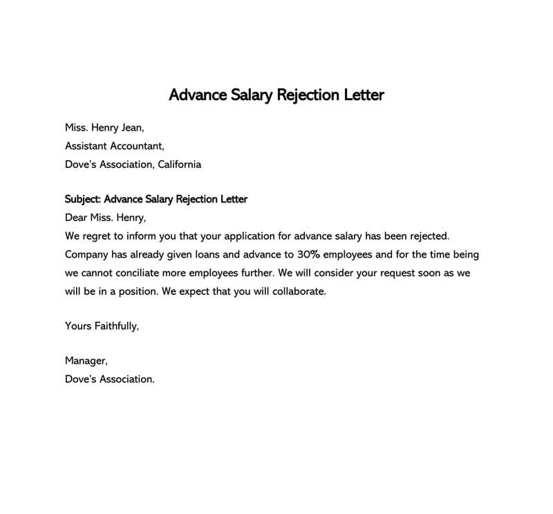 Advance Salary Rejection Letter
