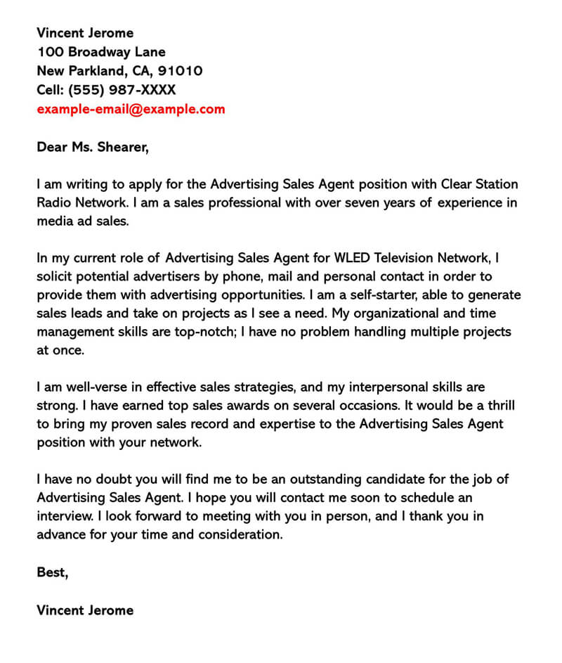 Advertising Sales Cover LetterAdvertising Sales Cover Letter